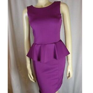 Topshop | Purple Form-Fitting Peplum Dress | 6